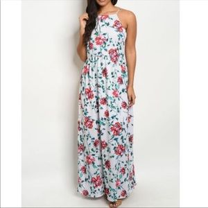 🆕White Striped Floral Sleeveless Maxi Dress